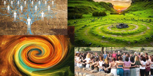 albero genealogico, cerchio infinito in terreno e grafico, feminas in tundu