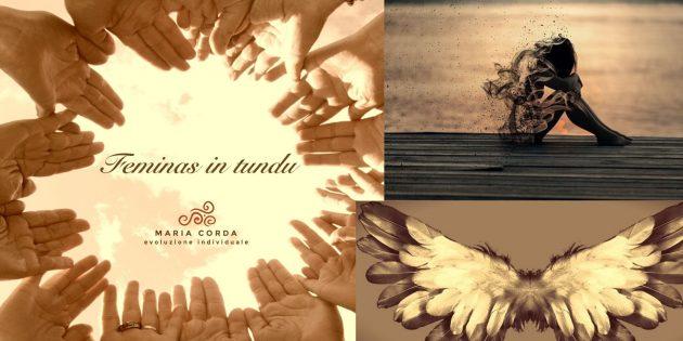 mani in cerchio per feminas in tundu e bambino che si volatilizza e ale in bianco e nero